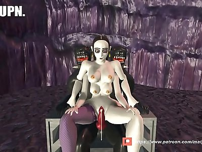 3D game. Four breasted girl gets fucked by a dog til her tits squirt milk.